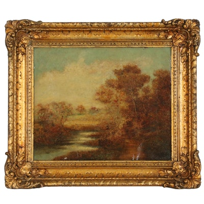 Homer Dodge Martin Landscape Oil Painting of River Scene