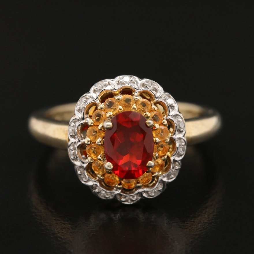 Sterling Silver Fire Opal, Opal and Diamond Scalloped Halo Ring