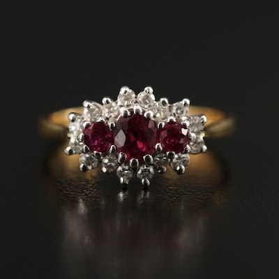 Vintage 18K Ruby and Diamond Ring