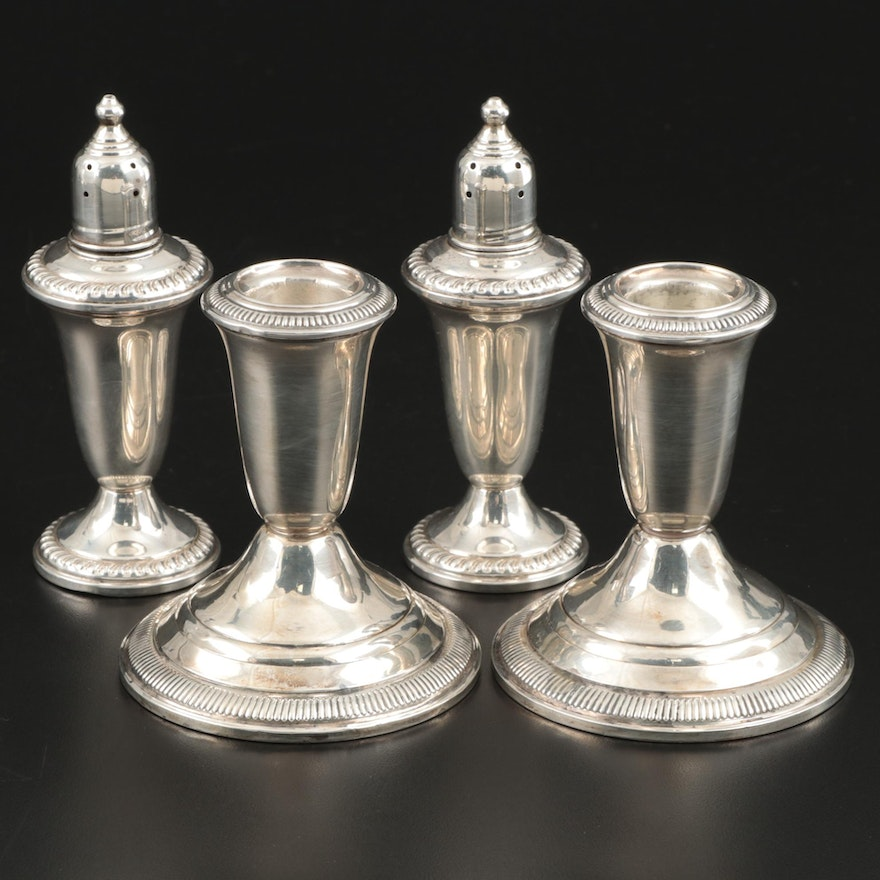 Empire Weighted Sterling Shakers and Crown Weighted Sterling Candle Holders