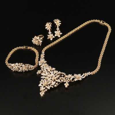 18K 10.37 CTW Diamond Floral Jewelry Set Featuring Bib Necklace