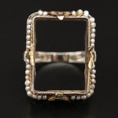 Edwardian 14K Seed Pearl Rectangular Semi-Mount Ring