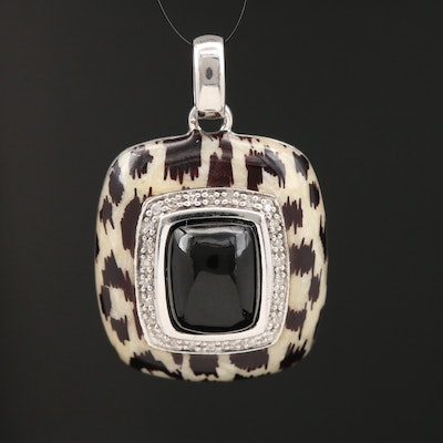 Sterling Silver Black Onyx with Diamond Halo and Leopard Print Enamel Pendant