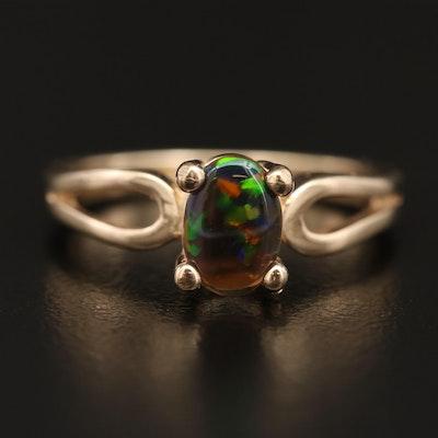 10K Opal Oval Cabochon Ring