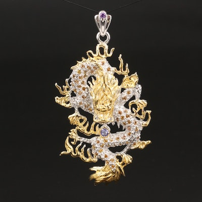Sterling Silver Tanzanite and Sapphire Dragon Pendant