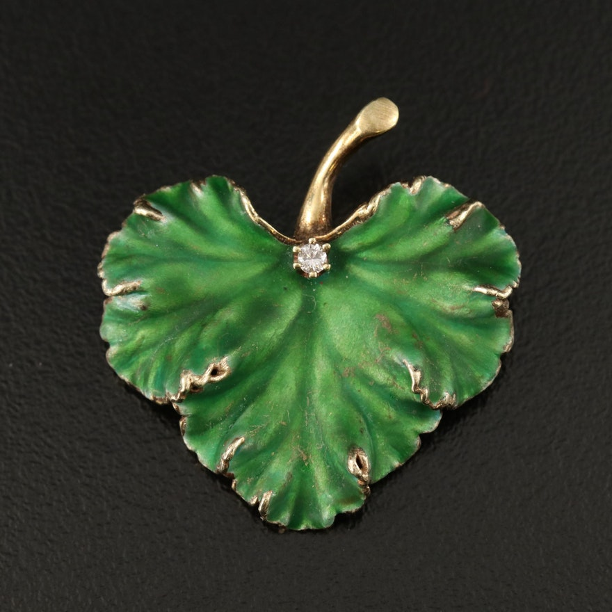 Vintage 14K Diamond and Enamel Leaf Brooch