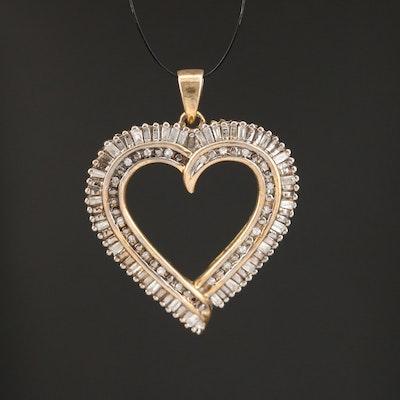 "Sterling Silver Diamond ""Mom"" Open Heart Pendant"