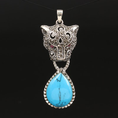 Sterling Silver Feline Door Knocker Turquoise Pendant