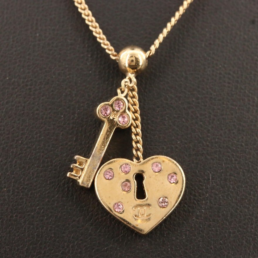 Chanel Spring 2002 Collection Heart Lock and Key Pendant Necklace