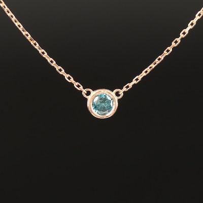 18K Rose Gold Blue Diamond Necklace