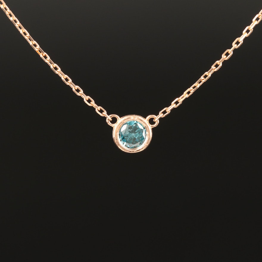 18K Rose Gold Blue Diamond Necklace