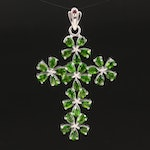 Sterling Silver Diopside Cross Pendant