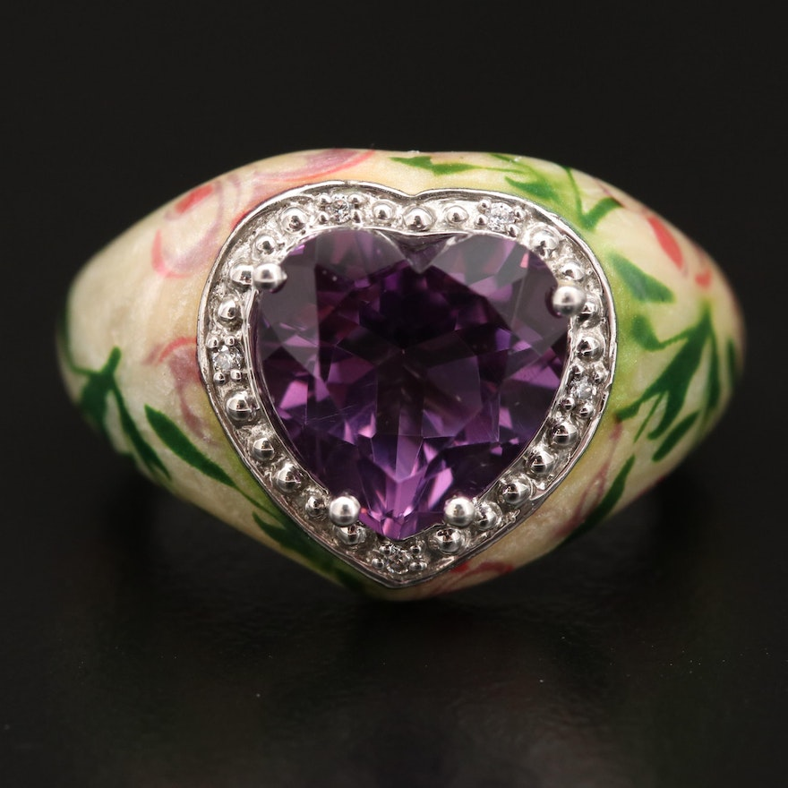 Sterling Silver Amethyst and Cubic Zirconia Heart Ring with Floral Enamel