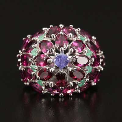 Sterling Silver Tanzanite, Rhodolite Garnet and Emerald Cluster Flower Ring