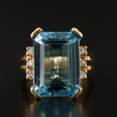 14K 17.41 CT Swiss Blue Topaz Rectangular Ring with Diamond Accents