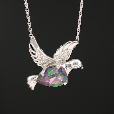 Sterling Silver Topaz and Cubic Zirconia Dove Pendant Necklace