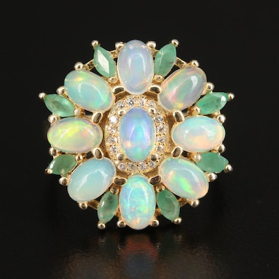 Sterling Silver Opal, Emerald and Cubic Zirconia Cluster Ring