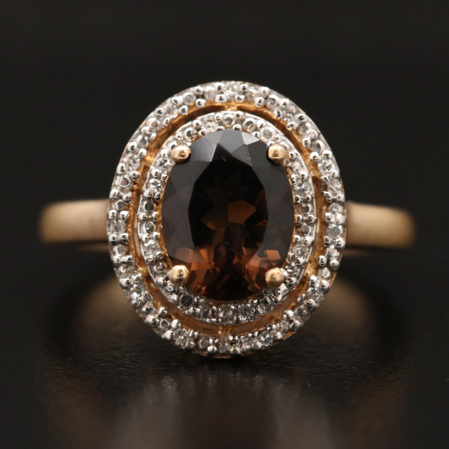 Sterling Silver Smoky Quartz and Diamond Double Halo Ring