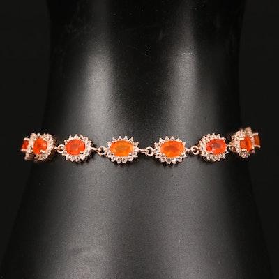 Sterling Silver Fire Opal and Cubic Zirconia Oval Link Bracelet