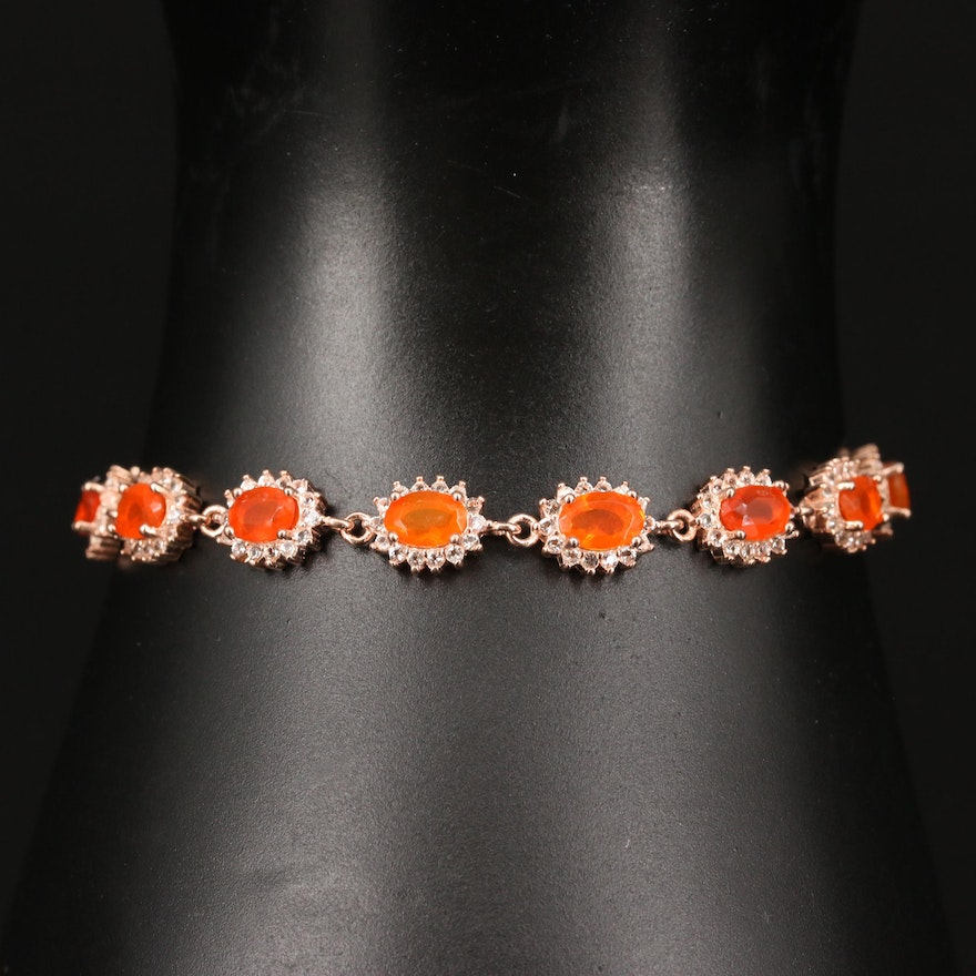 Sterling Silver Fire Opal and Cubic Zirconia Oval Link Bracelet
