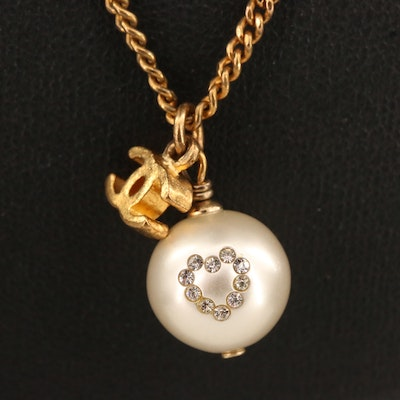 2008 Chanel Faux Pearl and Rhinestone Heart Logo Necklace with Box