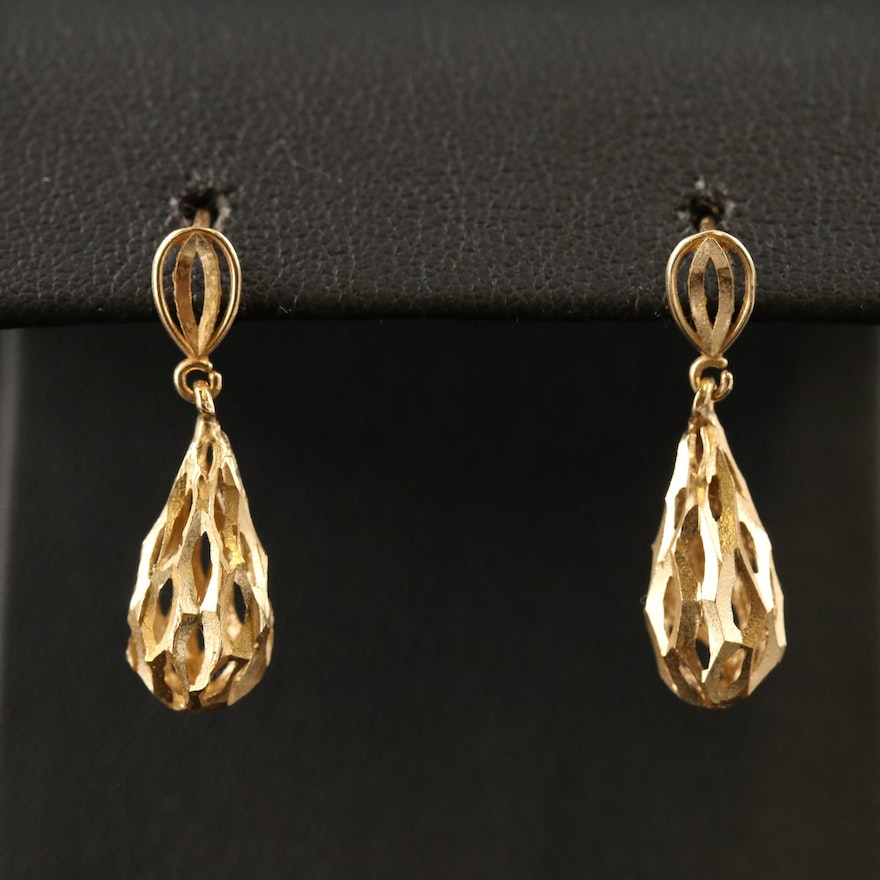14K Diamond Cut Drop Earrings