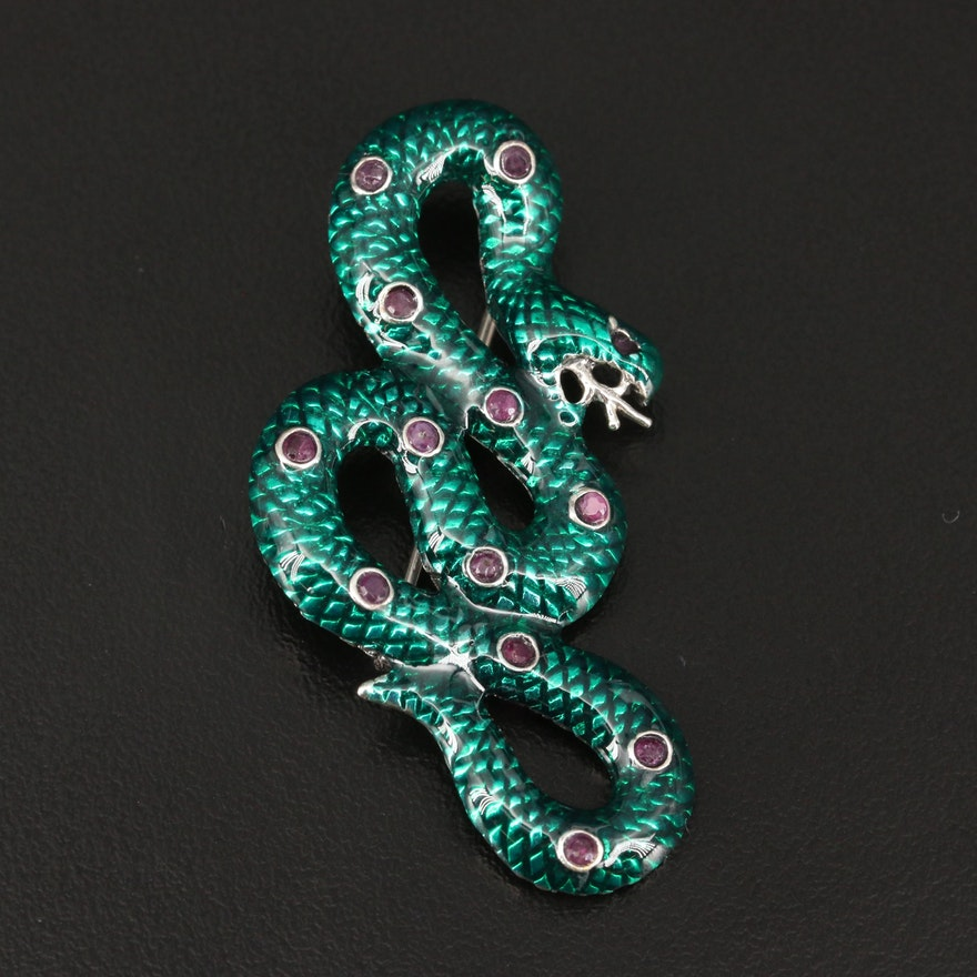 Sterling Silver Enameled Snake Converter Brooch with Ruby Accents