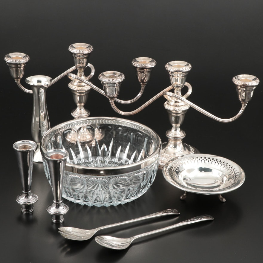 Gorham Silver-Plated Candelabra with Assorted Silver Plate Serveware