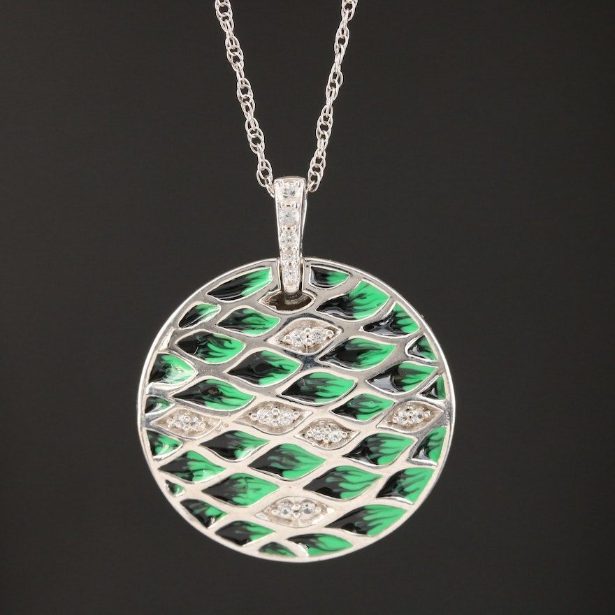 Sterling Silver Sapphire and Enamel Patterned Medallion Necklace
