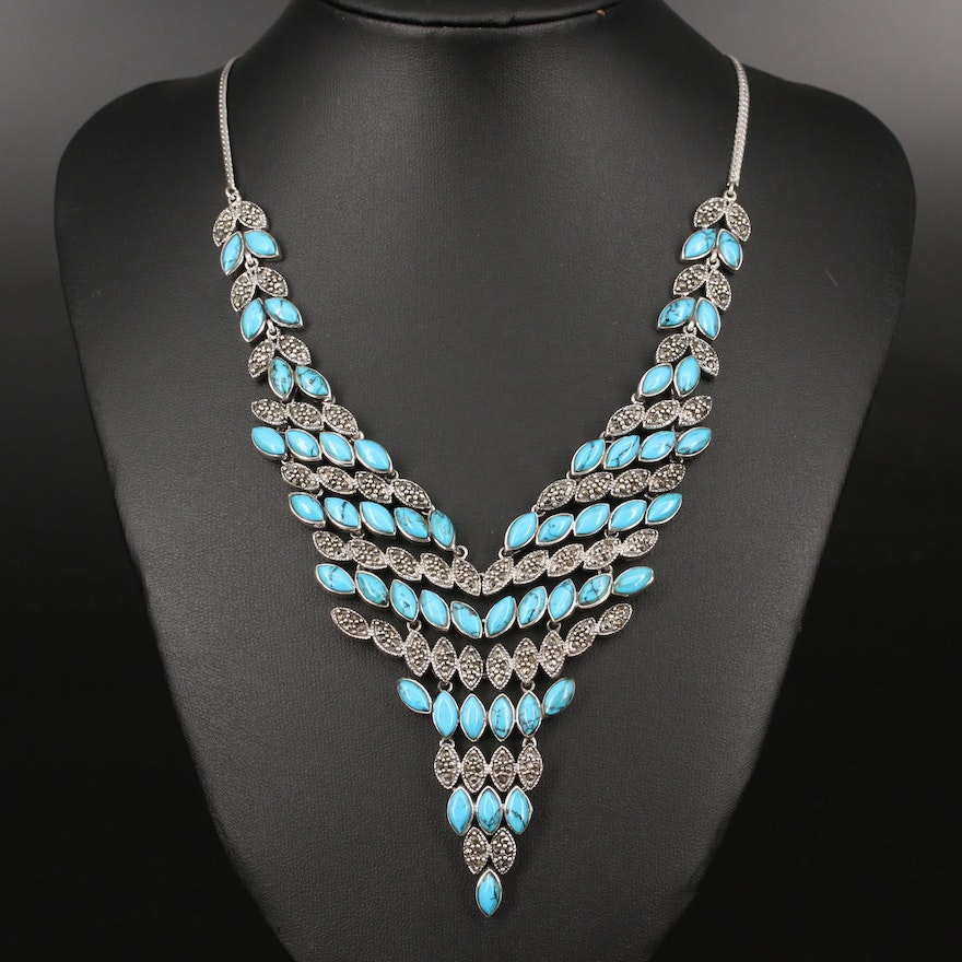 Sterling Silver Turquoise and Marcasite Bib Necklace
