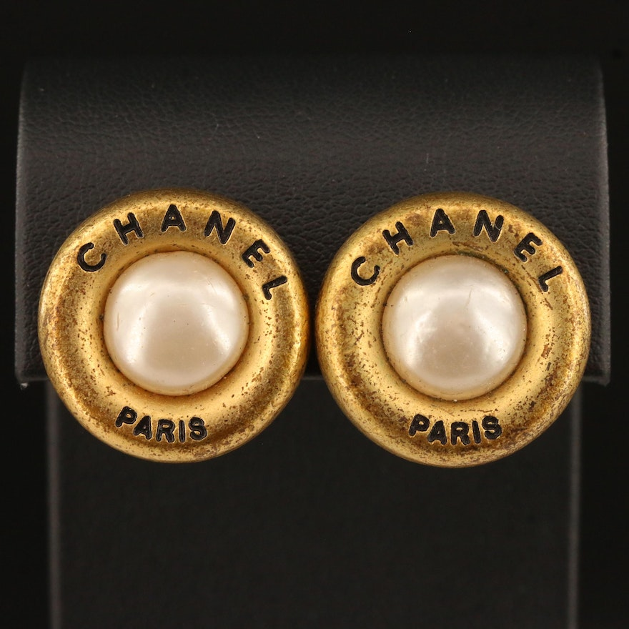 Circa 1994 Chanel Autumn Collection Clip Earrings with Chanel Box