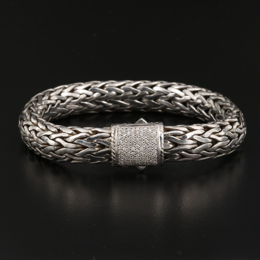 "John Hardy ""Classic"" Sterling Silver Diamond Chain Bracelet with 18K Accents"