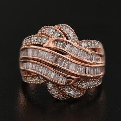 Sterling Silver and 1.01 CTW Diamond Rose Tone Ring
