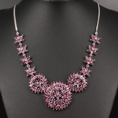 Sterling Silver Rhodolite Garnet and Emerald Necklace