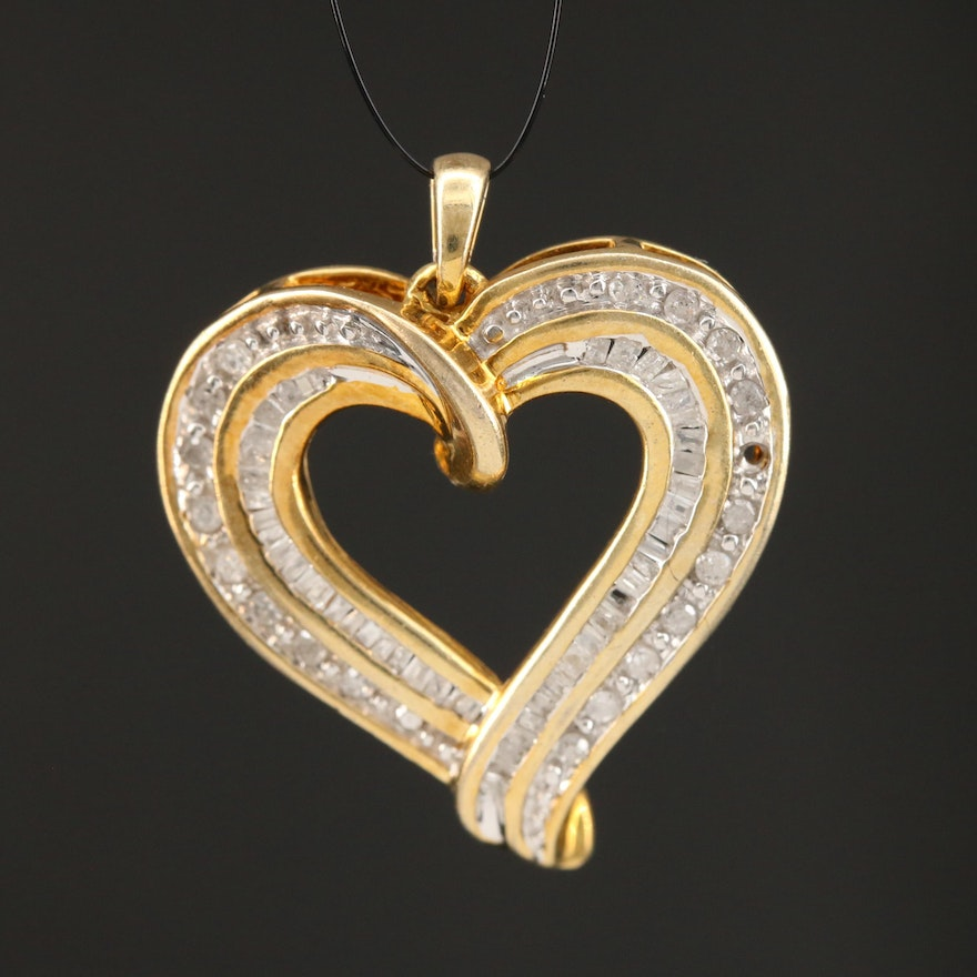 Sterling Silver Diamond Open Heart Pendant