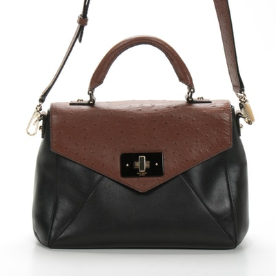 Kate Spade New York Top Handle Bag in Contrasting Ostrich and Leather