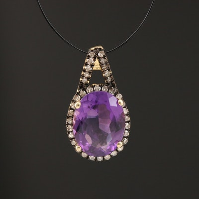 Sterling Silver Amethyst and Diamond Oval Pendant
