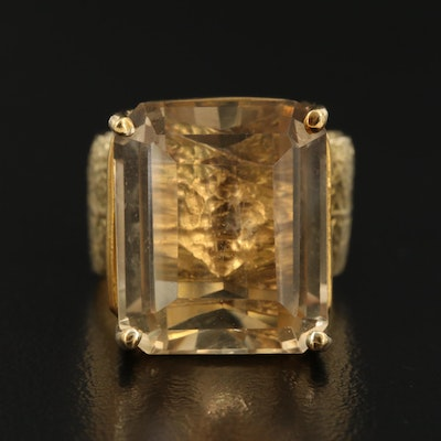 18K 13.70 CT Citrine Ring with Foliate Shank