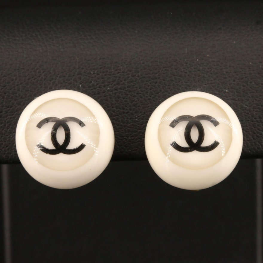 Chanel Non-Pierced, Spring 2001 Collection, CC Logo Button Earrings