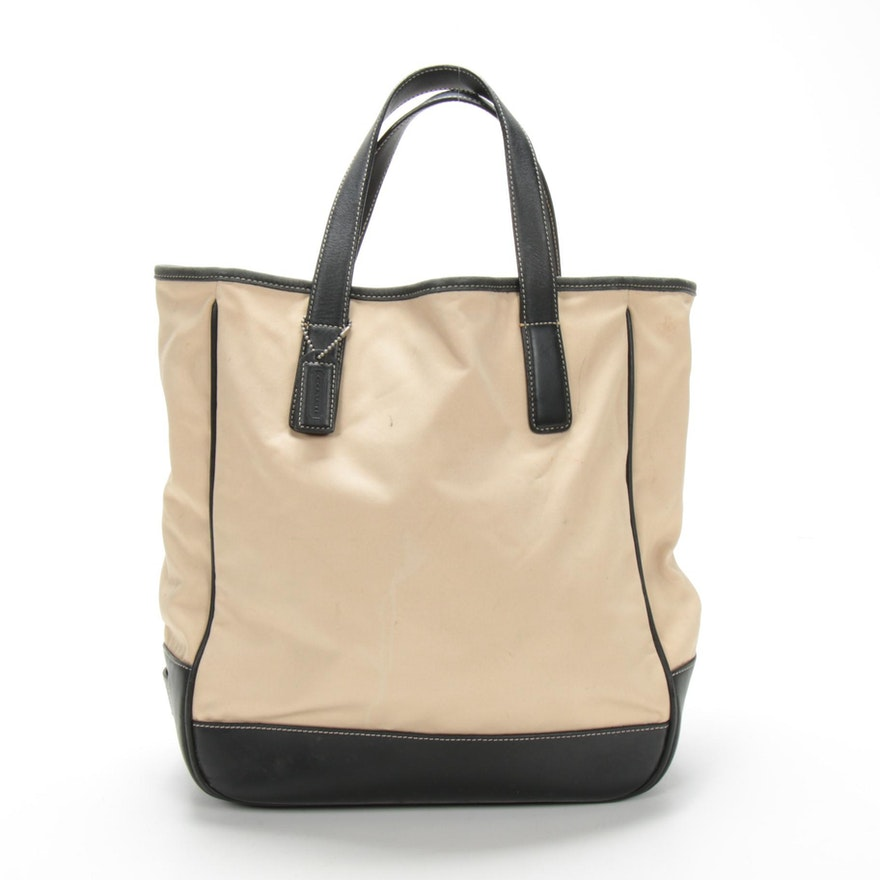 Coach Hamptons Tote in Nylon and Black Leather with Contrast Stitching