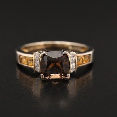 Sterling Silver Smoky Quartz, Citrine and Diamond Ring with Channel Shoulders