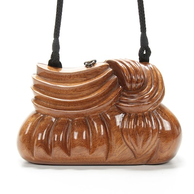 Timmy Woods Beverly Hills Hand-Carved Acacia Wood Box Bag