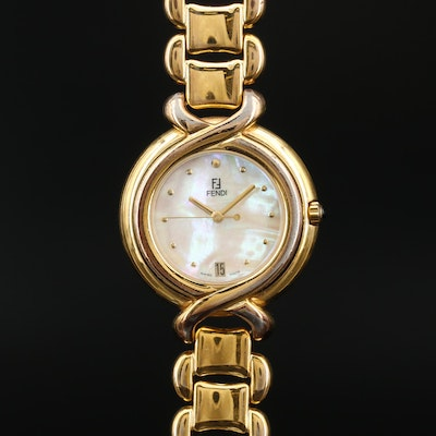 Fendi Mother of Pearl Dial with Date Quartz Wristwatch