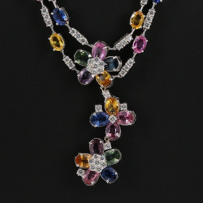 18K Sapphire and 5.33 CTW Diamond Floral Necklace