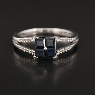 Sterling Silver Blue Sapphire and Diamond Ring with Split Shoulders
