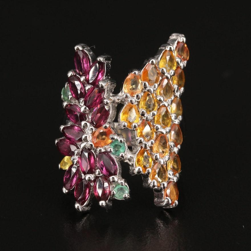 Sterling Silver Rhodolite Garnet, Sapphire and Emerald Ring