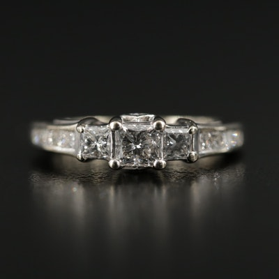14K Diamond Stepped Ring