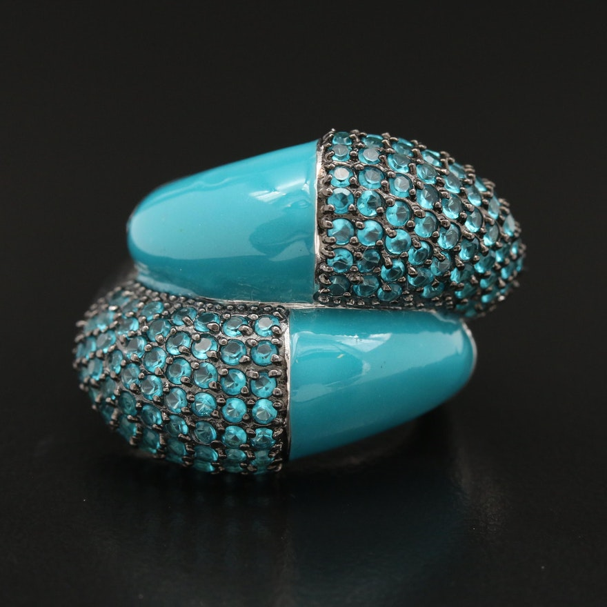 Sterling Silver Enamel and Faceted Glass Dome Ring