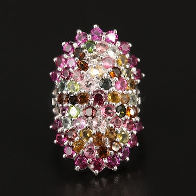 Sterling Silver Tourmaline and Rhodolite Garnet Ring