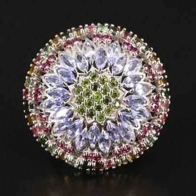 Sterling Silver Tanzanite, Rhodolite Garnet and Tourmaline Flower Ring